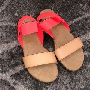 Girls Cat & Jack size 2 coral & tan sandals